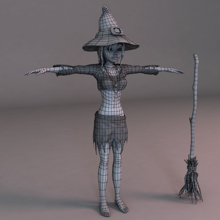 Cartoon Witch royalty-free 3d model - Preview no. 10