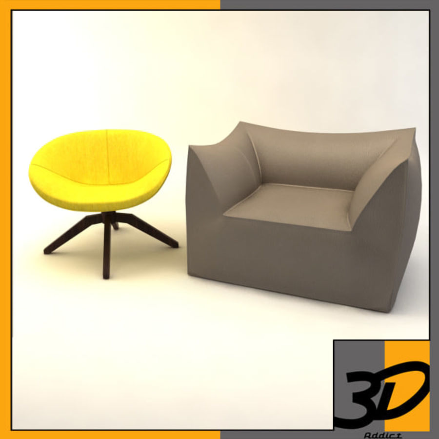 armchairs(1) royalty-free 3d model - Preview no. 1