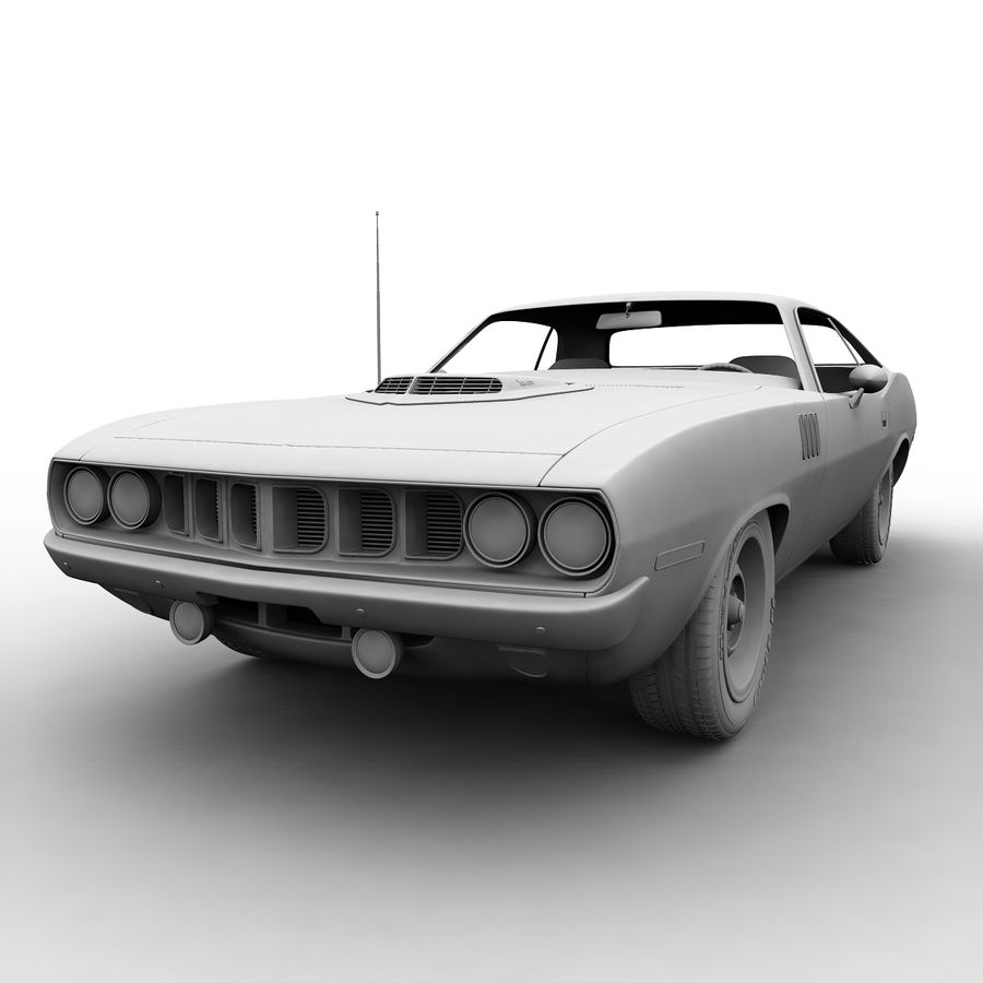 Plymouth Barracuda 71 royalty-free 3d model - Preview no. 8