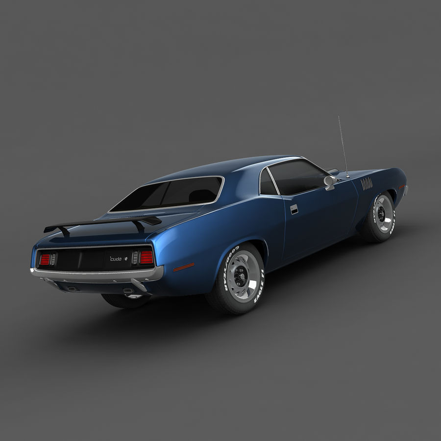 Plymouth Barracuda 71 royalty-free 3d model - Preview no. 5