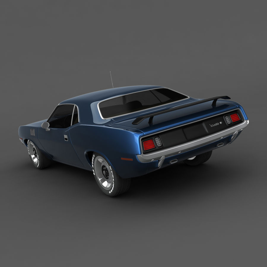 Plymouth Barracuda 71 royalty-free 3d model - Preview no. 3