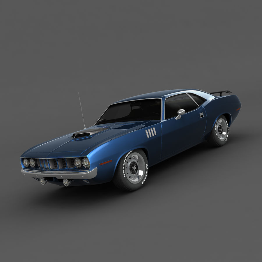 Plymouth Barracuda 71 royalty-free 3d model - Preview no. 4