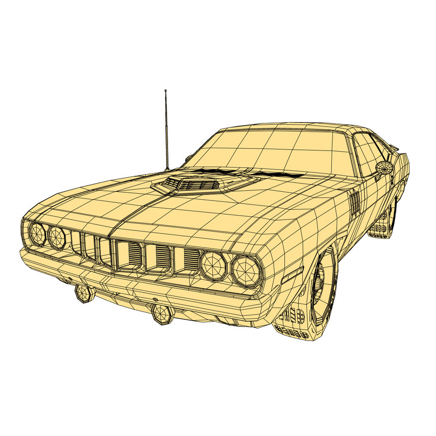 Plymouth Barracuda 71 royalty-free 3d model - Preview no. 10