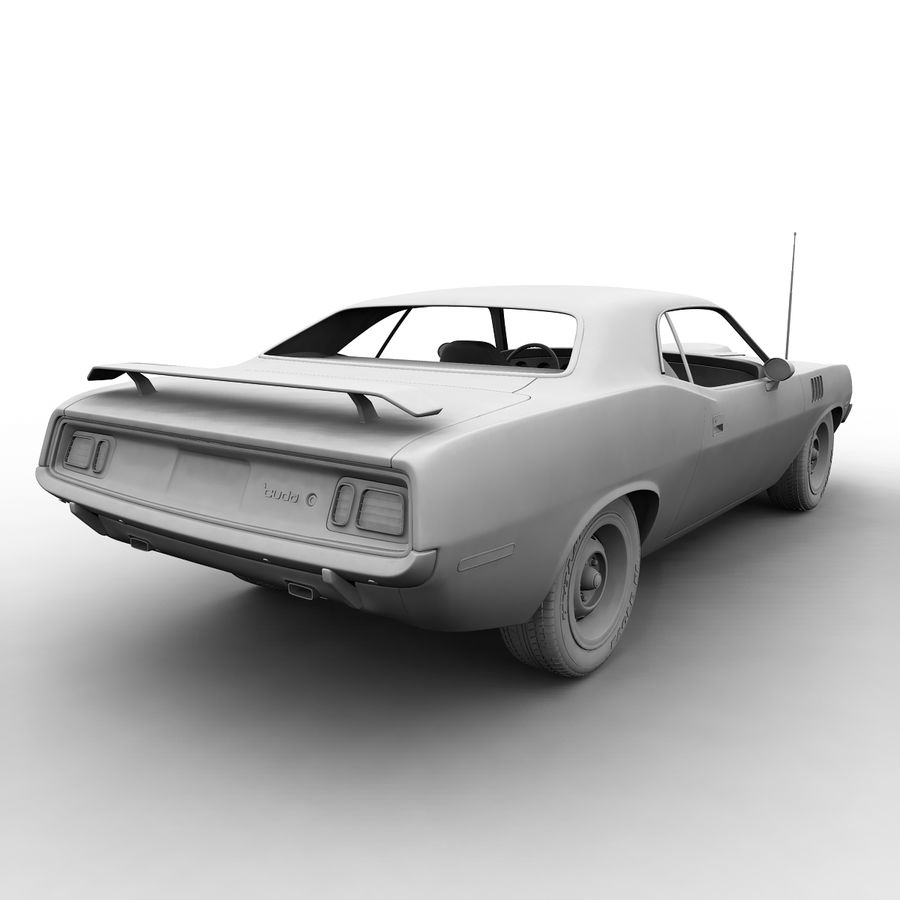 Plymouth Barracuda 71 royalty-free 3d model - Preview no. 9