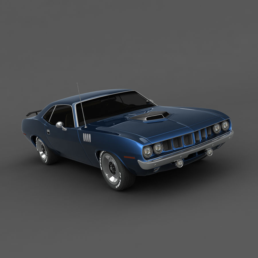 Plymouth Barracuda 71 royalty-free 3d model - Preview no. 2