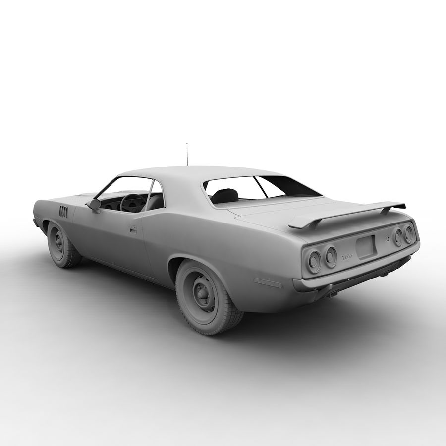 Plymouth Barracuda 1972 royalty-free 3d model - Preview no. 7
