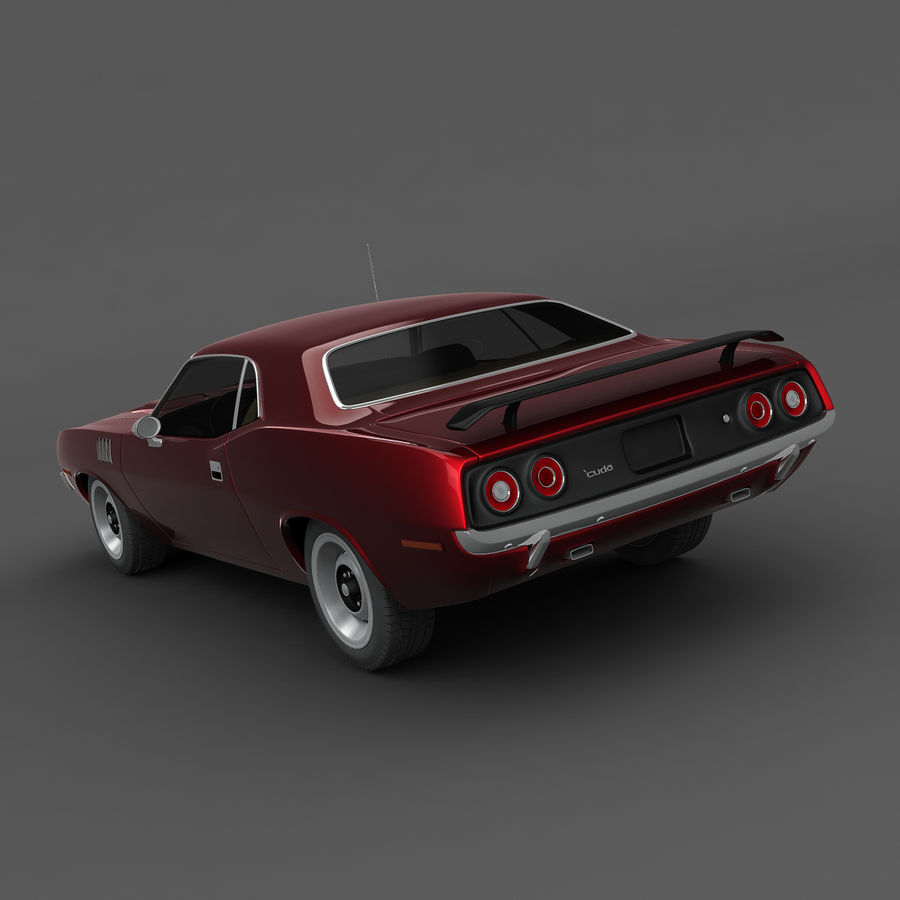 Plymouth Barracuda 1972 royalty-free 3d model - Preview no. 3