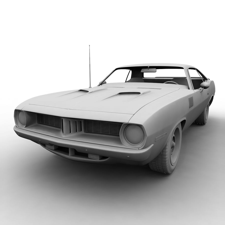 Plymouth Barracuda 1972 royalty-free 3d model - Preview no. 6