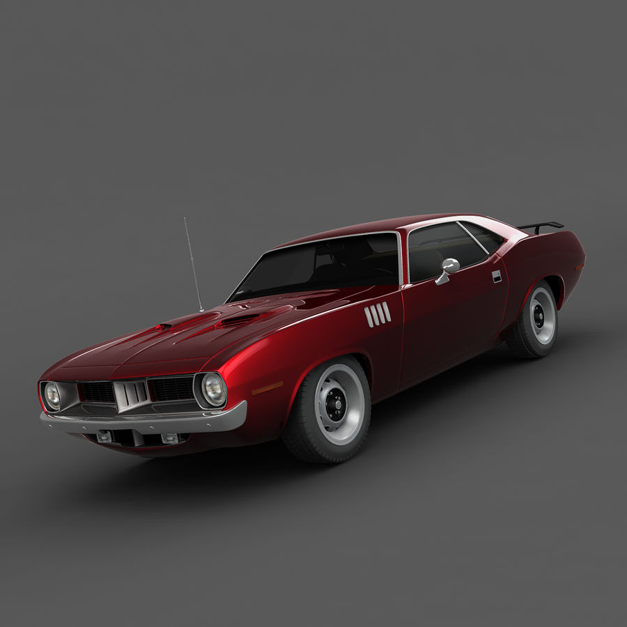 Plymouth Barracuda 1972 royalty-free 3d model - Preview no. 4