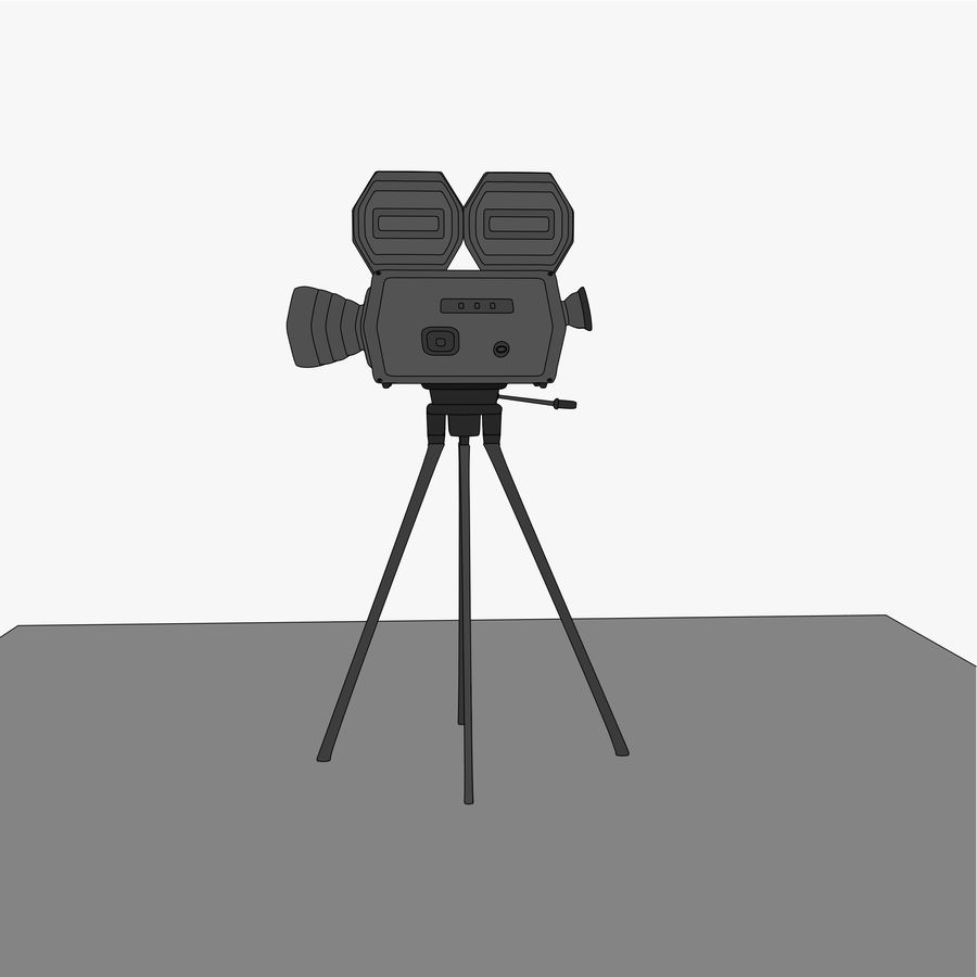 Classic Hollywood Movie Camera royalty-free 3d model - Preview no. 11