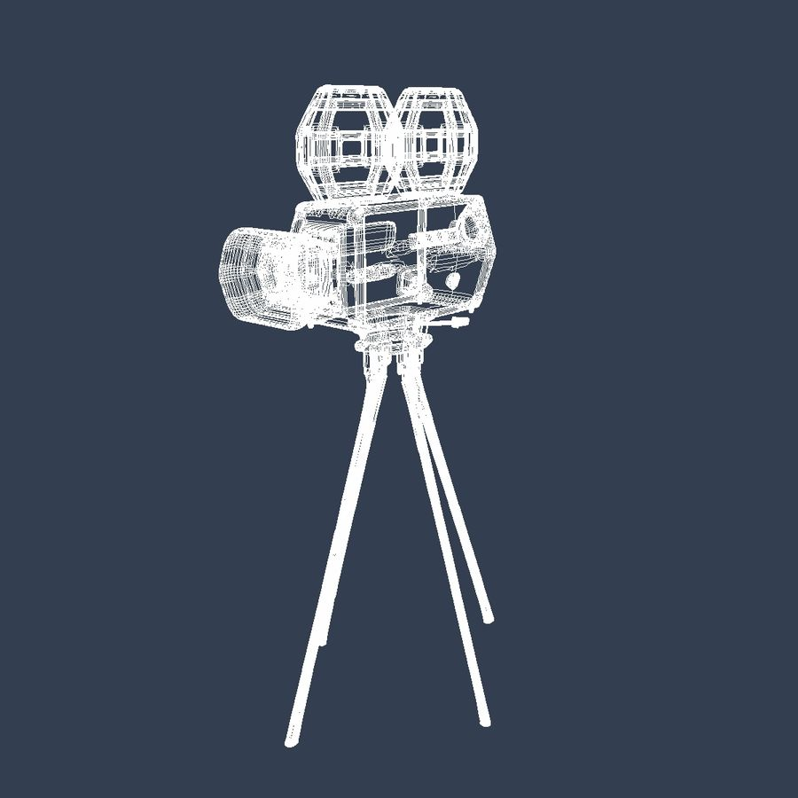 Classic Hollywood Movie Camera royalty-free 3d model - Preview no. 13