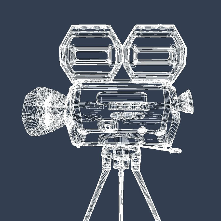 Classic Hollywood Movie Camera royalty-free 3d model - Preview no. 14