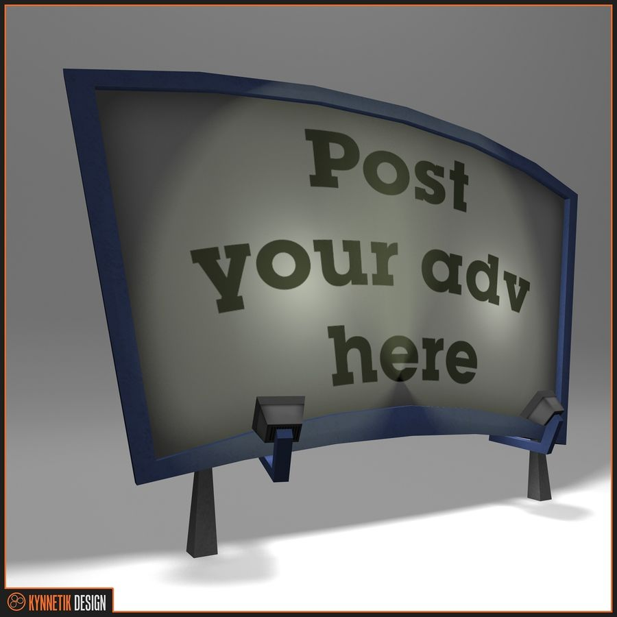 Advertising billboard! royalty-free 3d model - Preview no. 4