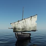 Old Sailing Boat 3d model