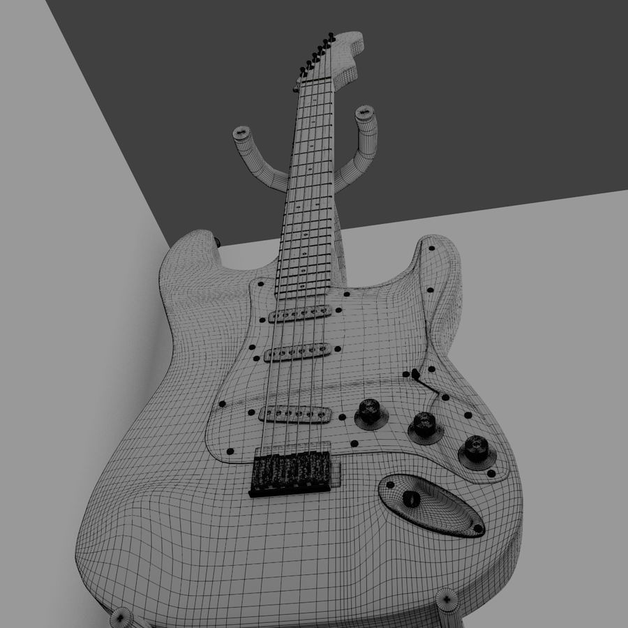 Guitarra e suporte Fender royalty-free 3d model - Preview no. 6