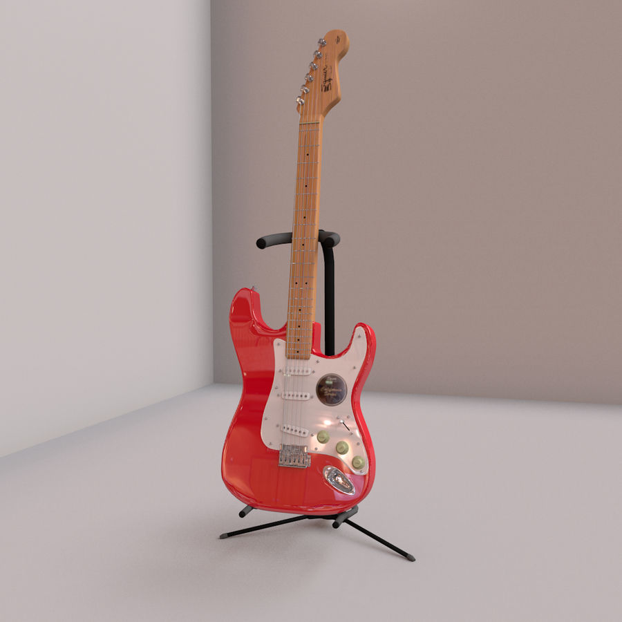 Guitarra e suporte Fender royalty-free 3d model - Preview no. 1