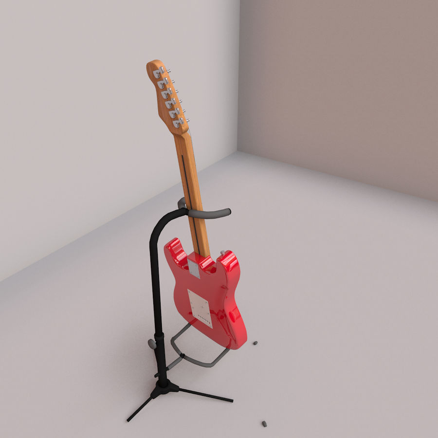 Guitarra e suporte Fender royalty-free 3d model - Preview no. 4
