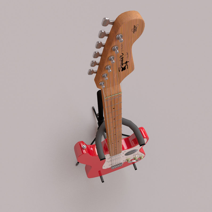 Guitarra e suporte Fender royalty-free 3d model - Preview no. 3