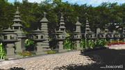 3 lanternes en pierre japonaises 3d model