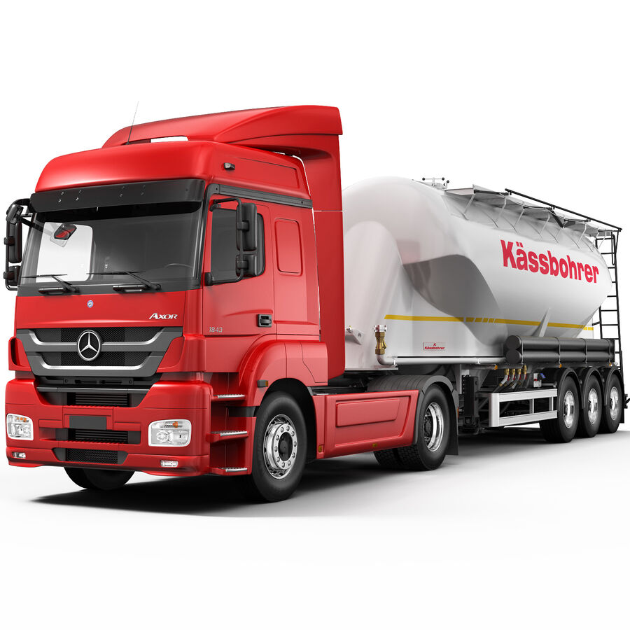 Mercedes Axor (Cement Trailer) royalty-free 3d model - Preview no. 1
