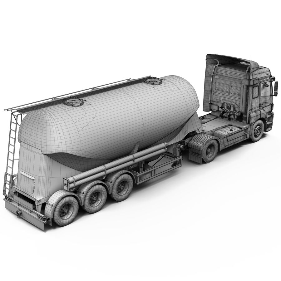 Mercedes Axor (Cement Trailer) royalty-free 3d model - Preview no. 13