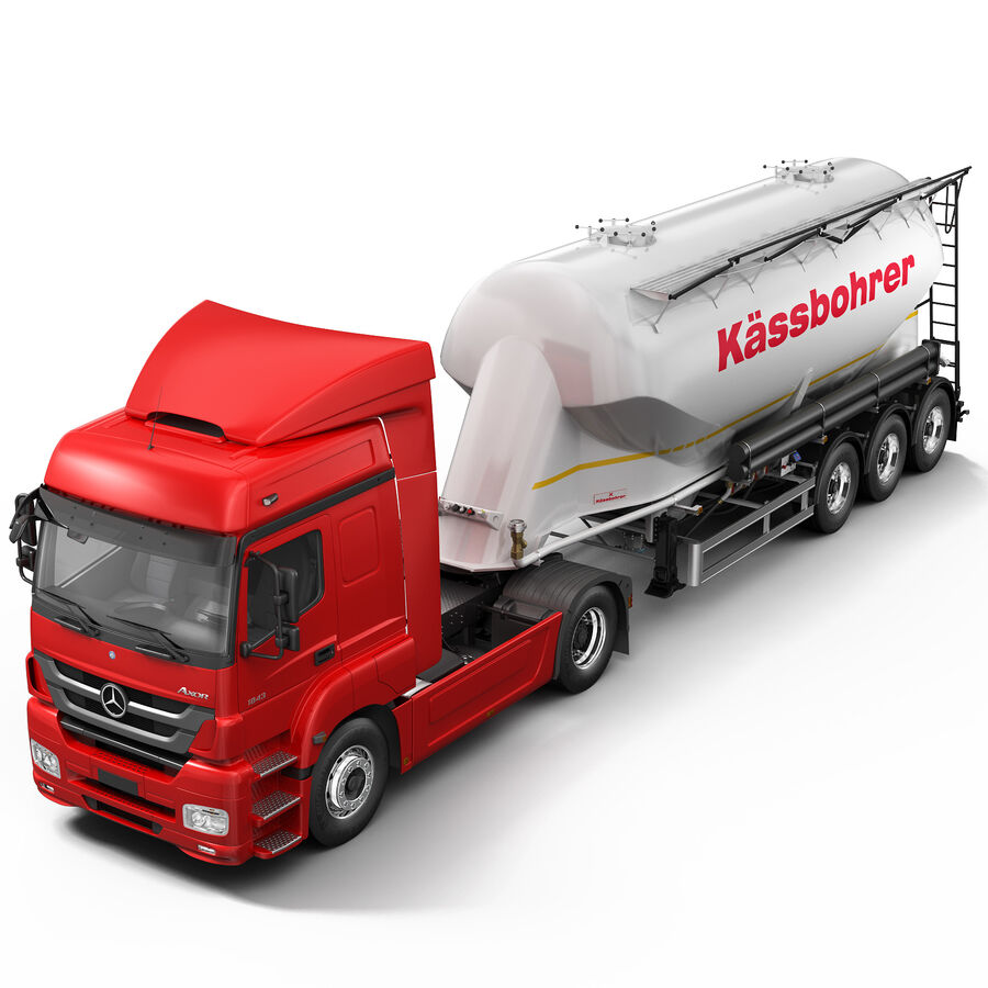 Mercedes Axor (Cement Trailer) royalty-free 3d model - Preview no. 5