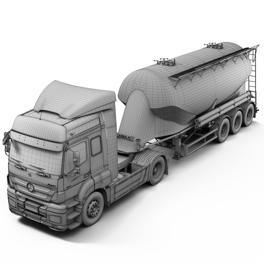 Mercedes Axor (Cement Trailer) royalty-free 3d model - Preview no. 12