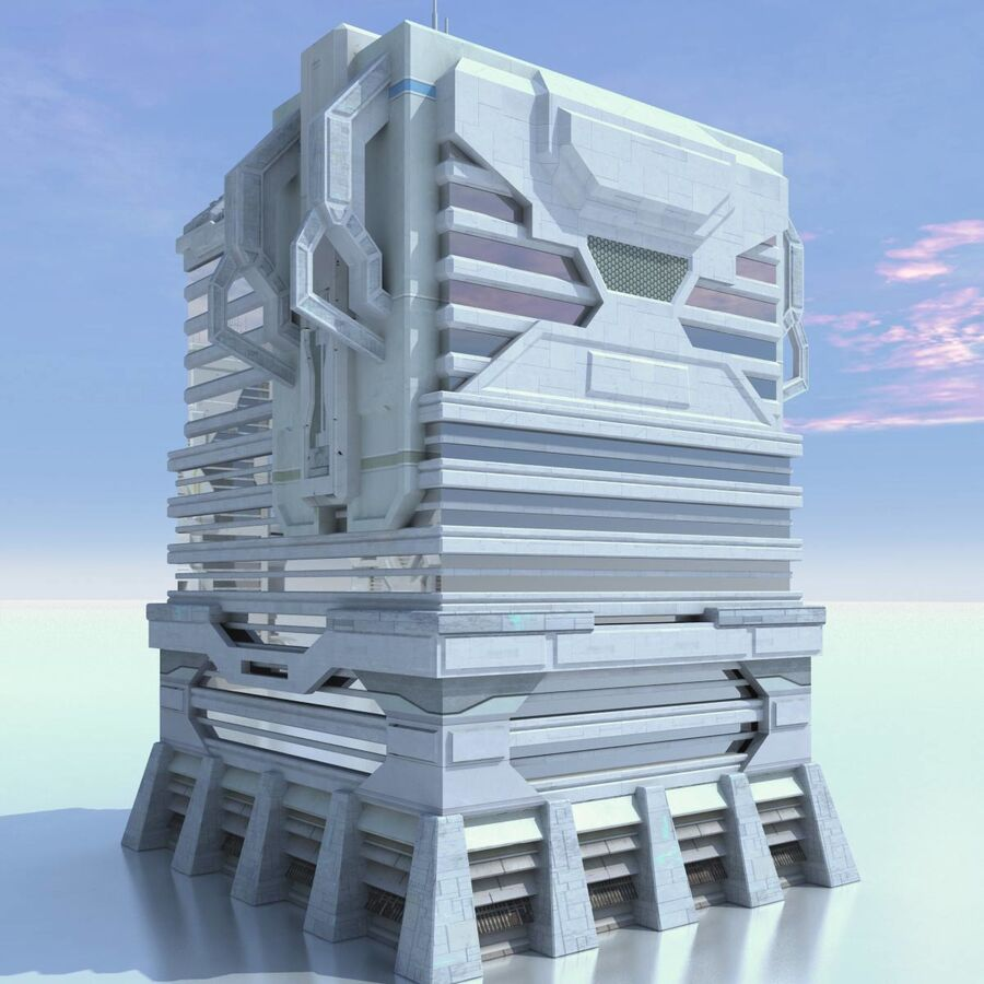 Sci Fi City Futuristic Buildings royalty-free 3d model - Preview no. 16