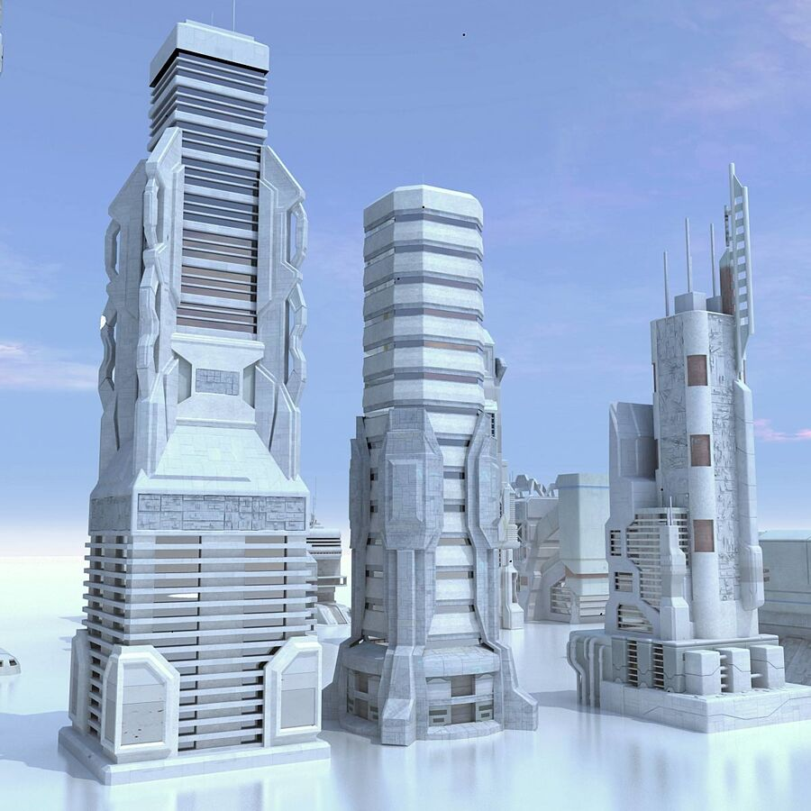 Sci Fi City Futuristic Buildings royalty-free 3d model - Preview no. 10