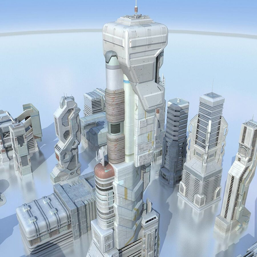 Sci Fi City Futuristic Buildings royalty-free 3d model - Preview no. 8