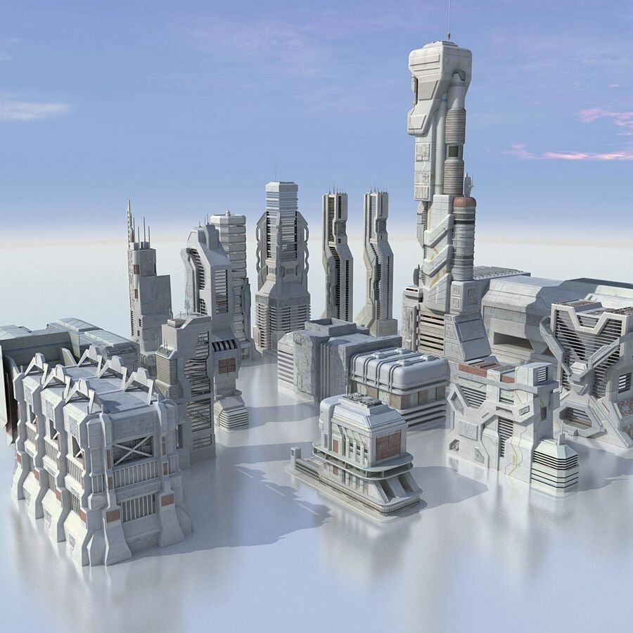 Sci Fi City Futuristic Buildings royalty-free 3d model - Preview no. 2