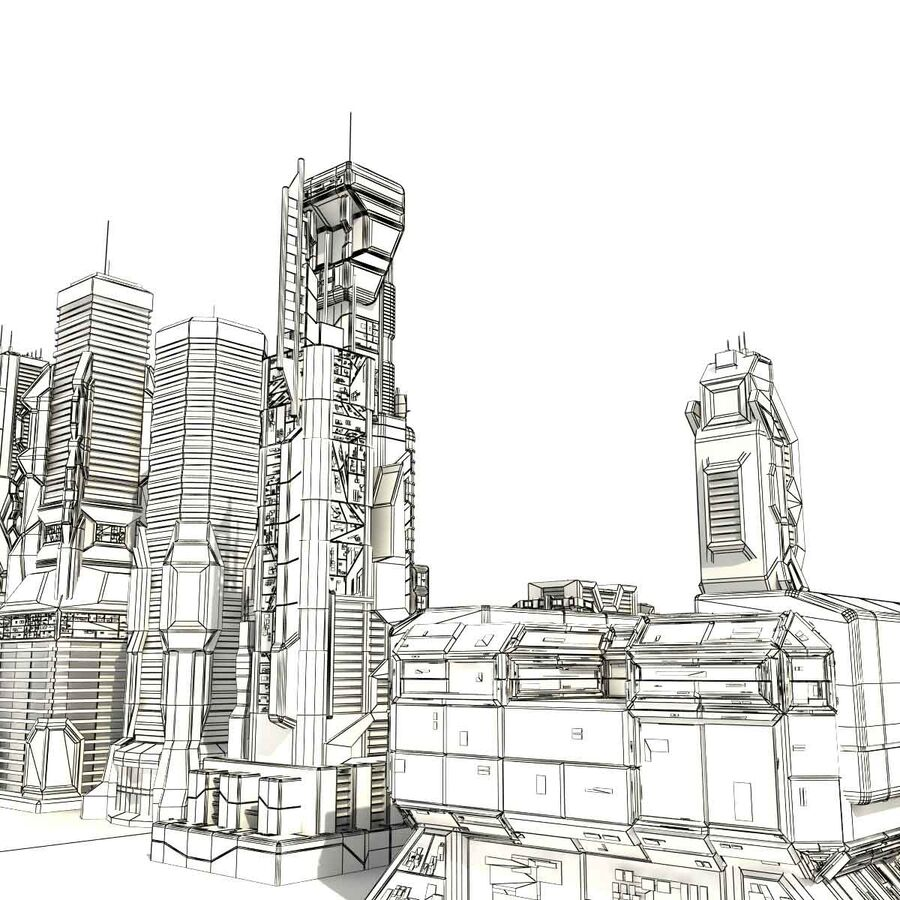 Sci Fi City Futuristic Buildings royalty-free 3d model - Preview no. 21