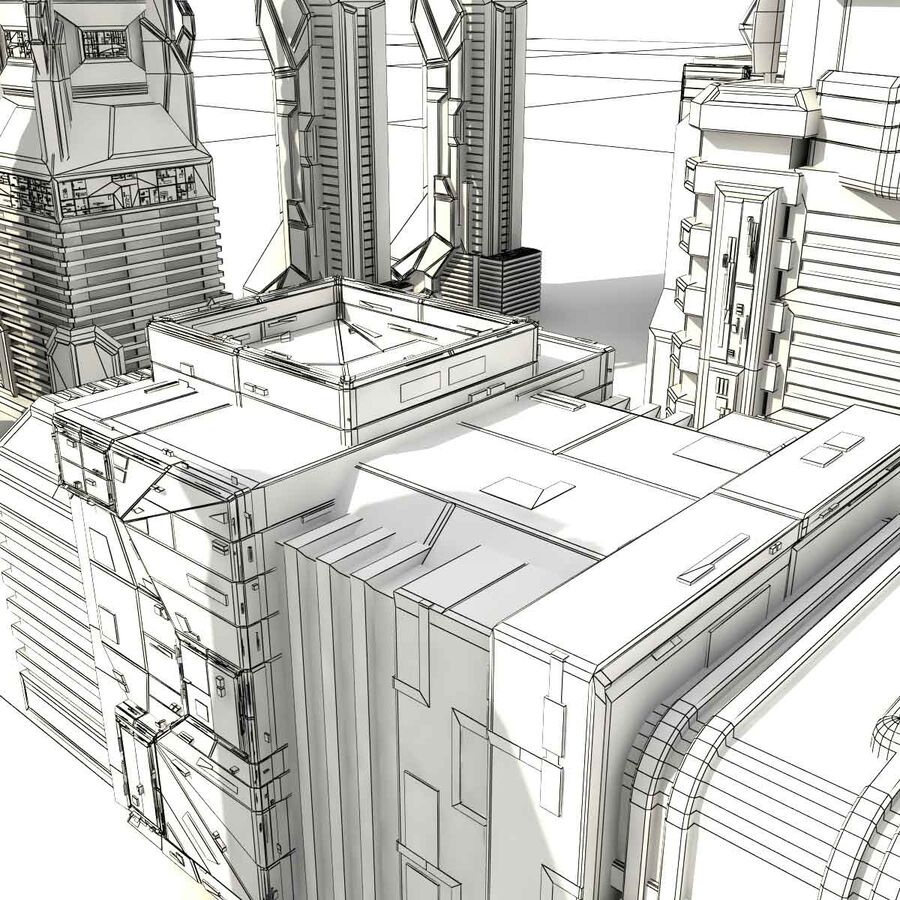 Sci Fi City Futuristic Buildings royalty-free 3d model - Preview no. 22