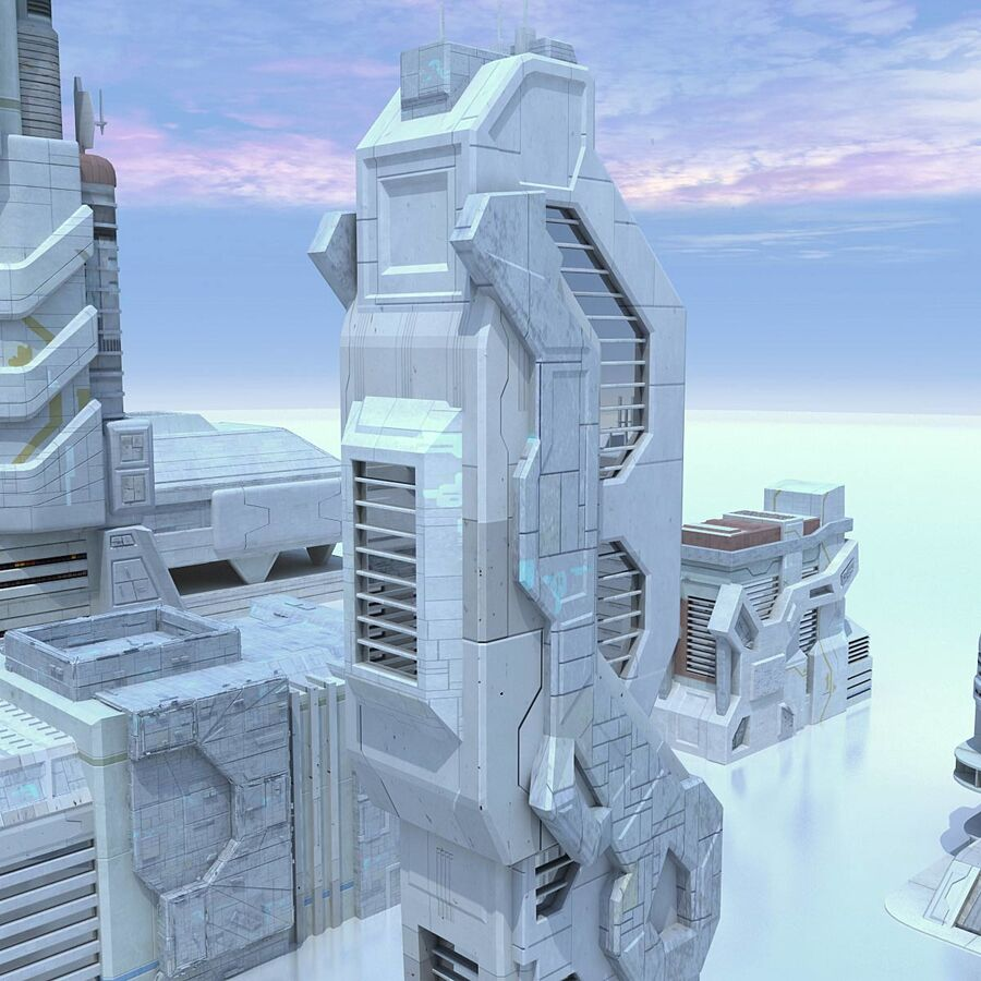 Sci Fi City Futuristic Buildings royalty-free 3d model - Preview no. 17