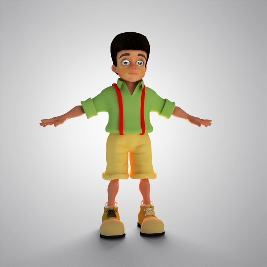 Kid Boy Cartoon royalty-free 3d model - Preview no. 7