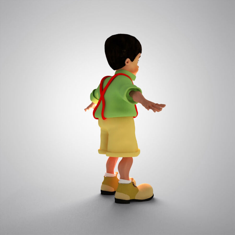 Kid Boy Cartoon royalty-free 3d model - Preview no. 8