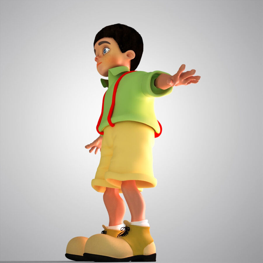 Kid Boy Cartoon royalty-free 3d model - Preview no. 4
