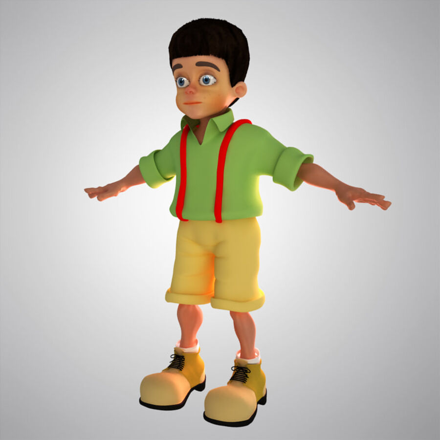 Kid Boy Cartoon royalty-free 3d model - Preview no. 2