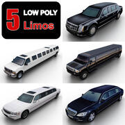 Limusinas Low Poly modelo 3d