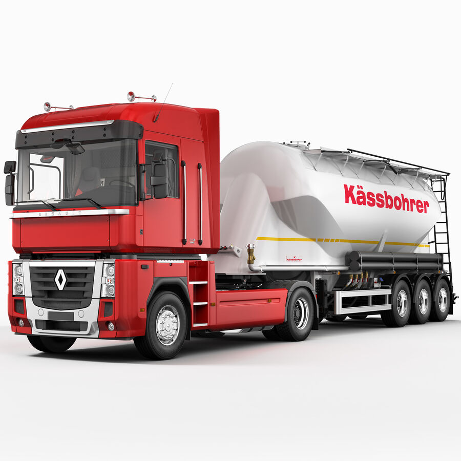 Przyczepa cementowa Renault Magnum royalty-free 3d model - Preview no. 1