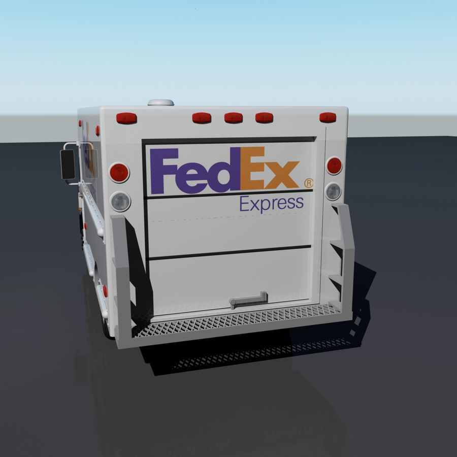 FedEx Delivery Truck royalty-free 3d model - Preview no. 3