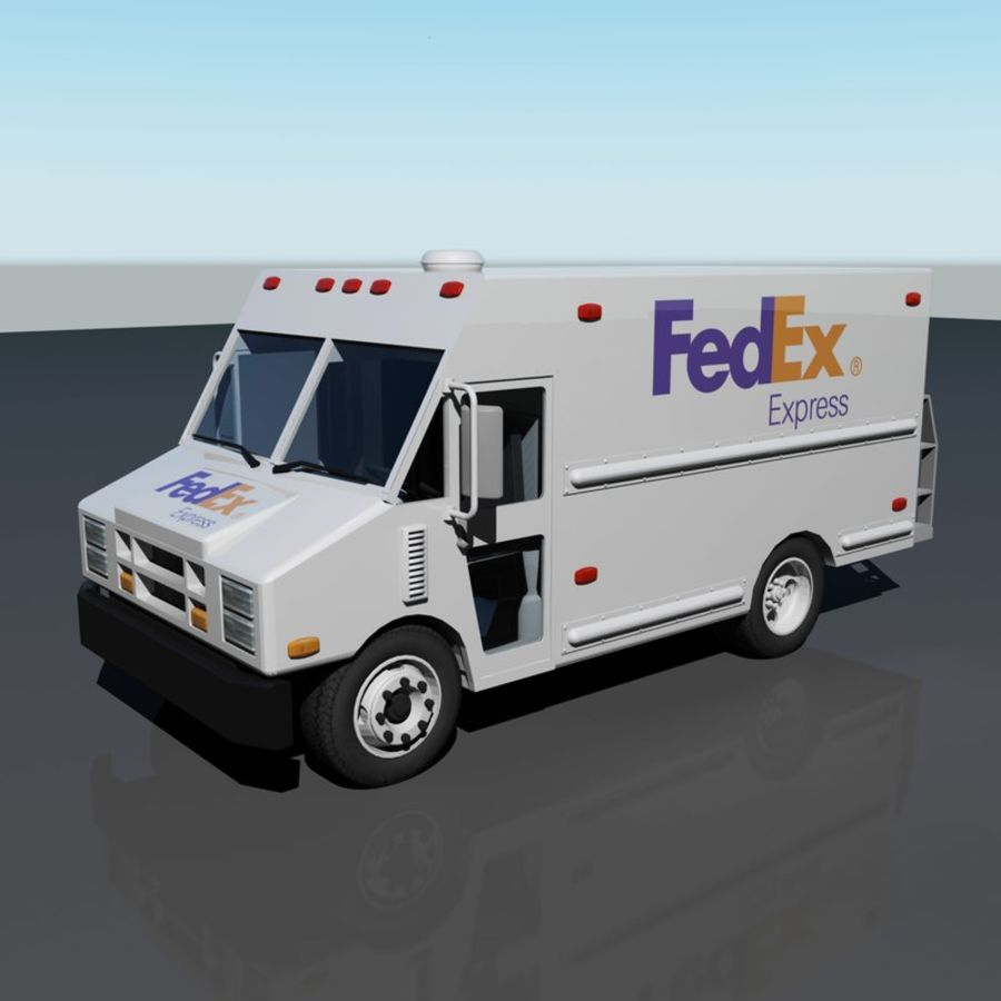 FedEx Delivery Truck royalty-free 3d model - Preview no. 2