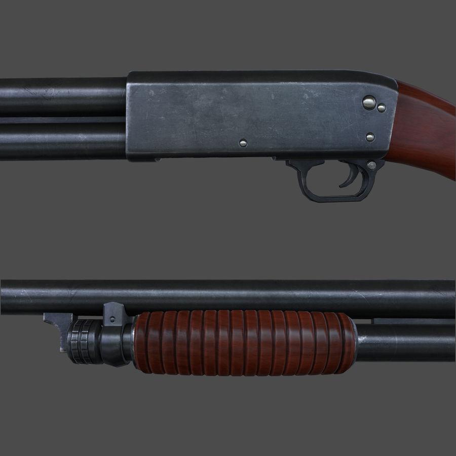 M37 Ithaca Shotgun royalty-free 3d model - Preview no. 5