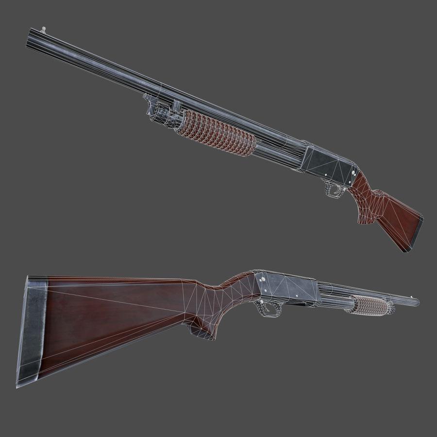 M37 Ithaca Shotgun royalty-free 3d model - Preview no. 4