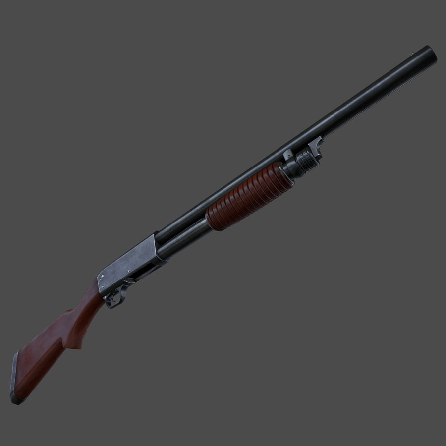 M37 Ithaca Shotgun royalty-free 3d model - Preview no. 2