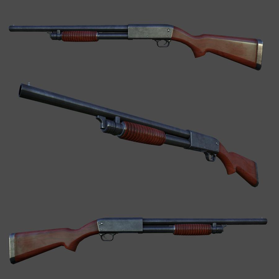 M37 Ithaca Shotgun royalty-free 3d model - Preview no. 3