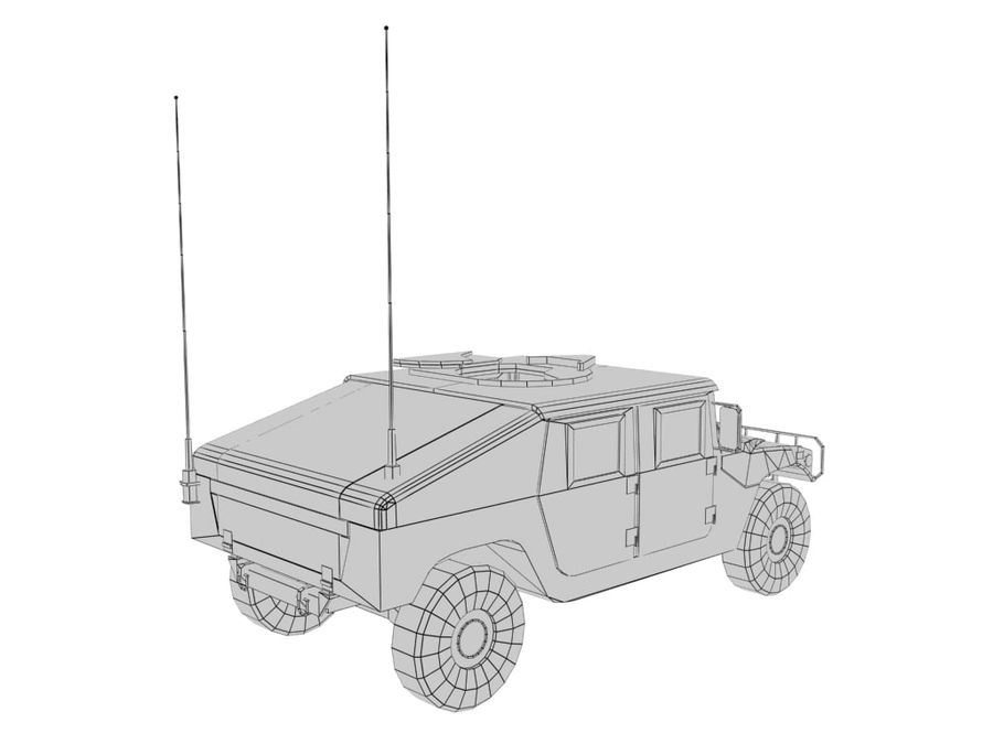 Lowpoly Humvee royalty-free 3d model - Preview no. 4