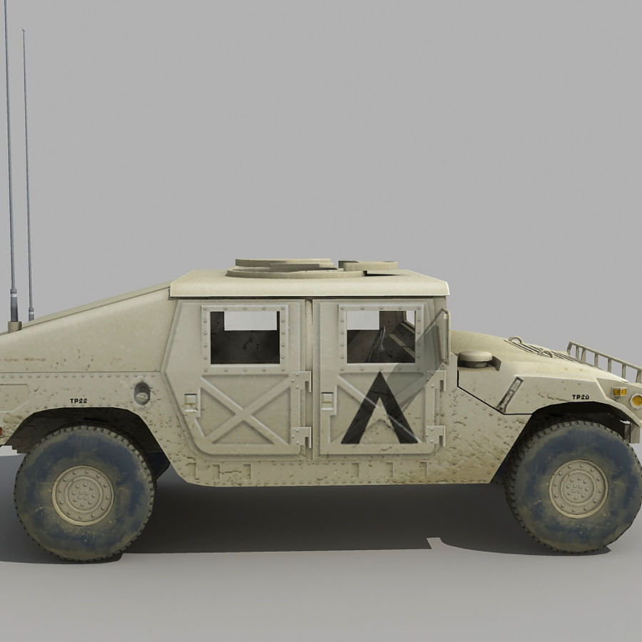 Humvee de lowpoly royalty-free modelo 3d - Preview no. 4
