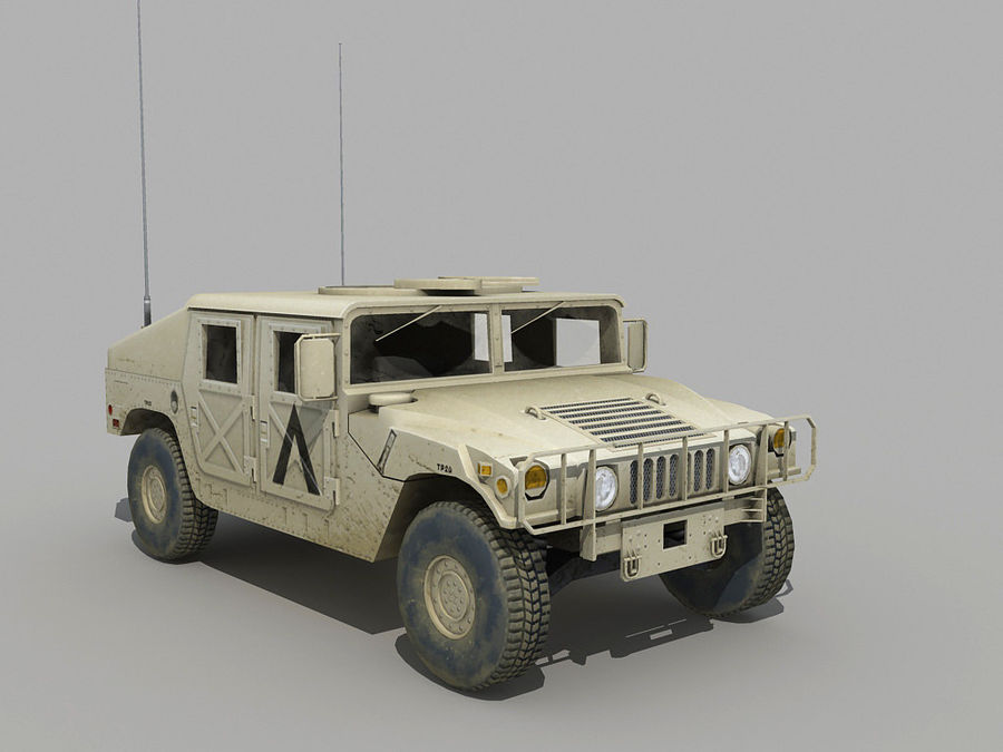 Lowpoly Humvee royalty-free 3d model - Preview no. 5