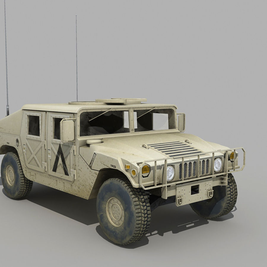 Humvee de lowpoly royalty-free modelo 3d - Preview no. 5